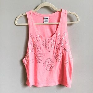 VS PINK Pink Aztec Sequined Cropped Tank Top | XS